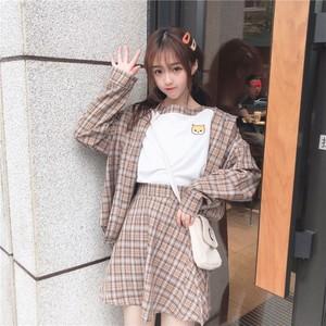【セットアップ】3点セット韓国ファッションシャツ+配色Tシャツ+チェックスカート