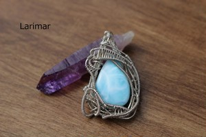Larimar silver925 wirewrapping pendant