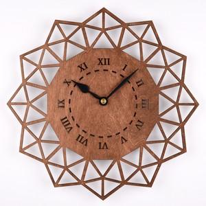 木の壁掛け時計B ペンタゴン(木製ウォールクロック)