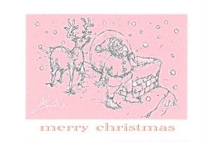 クリスマス サンタとトナカイ ポストカード No.0078