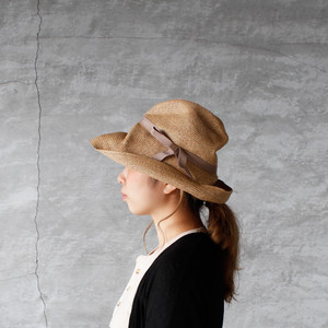 mature ha.(マチュアーハ)BOXED HAT 11cm brim mix brown × pink beige 送料無料