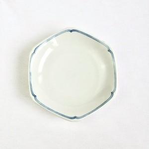 九谷の白 六角花型 小皿 ブルーライン 小 (02)