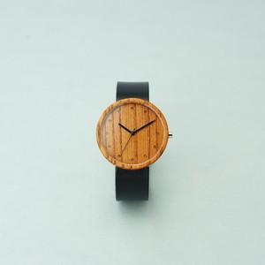 Zelkova wood - Organic leather Black - L