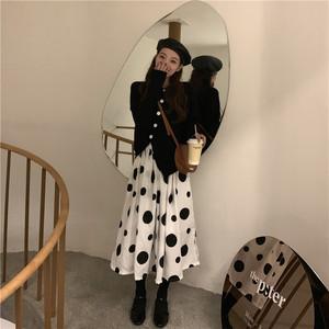 【セットアップ】【単品注文】韓国系スリットセーター/ドット柄スカート2点セット24200164
