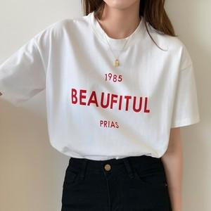 【トップス】プルオーバーアルファベット韓国系ラウンドネックTシャツ43086719