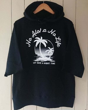 PARM TREE Pullover hoodie Six-quarter sleeves col.blk