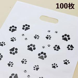 【100枚】肉球小判抜き袋(手提げ袋)乳白ポリ