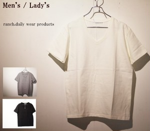 ranch.daily wear products 度詰め天竺半袖Vネック(WHITE) 【Men's】