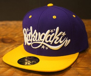 2018 RAKUGAKI Main Logo Snap Back Cap Purple/Yellow x White