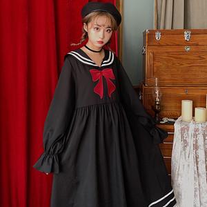 【ワンピース】秋冬レトロスウィート配色リボン刺繍セーラーカラーワンピース