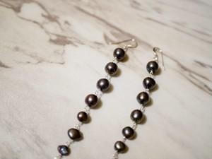 gray pearl long earrings/pierce(silver)