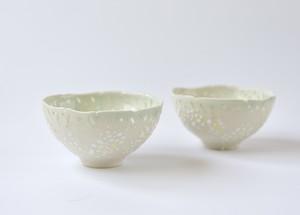 ミモザ白ホタル茶碗
