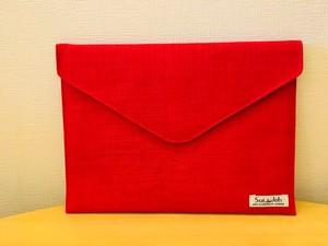 封筒型 クラッチバッグ M《赤》(ノートPCも入る!)【カンボジアメイド】