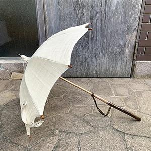 桜長柄生成り麻日傘
