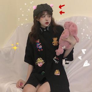 【トップス】動物柄POLOネックシングルブレストシャツ19144002
