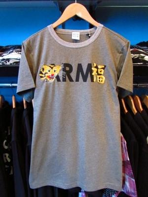 S/STシャツ ARMY&TIGER プリント×刺しゅう アッシュブラウン HOUSTON