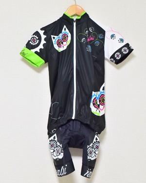 ギアモチーフの猫サイクルジャージ上下 NALINI(ナリーニ)/黒/レディース
