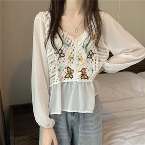 かぎ針編みショートシフォンシャツ