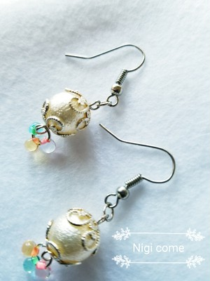 cotton pearl glass drop «color silver»