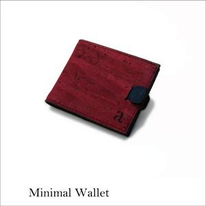 VEGAN MINIMAL WALLET  MAROON / 二つ折り財布マルーン&ブラック コルク製