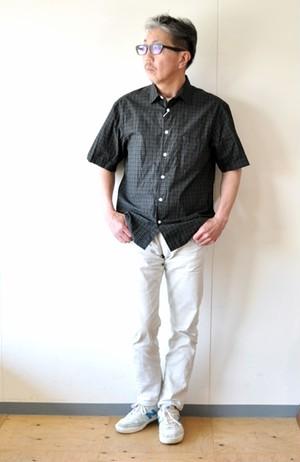 MANUALALPHABET マニュアルアルファベット 半袖シャツ チェックシャツ SPT040