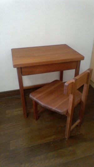 無垢マホガニー机椅子セット