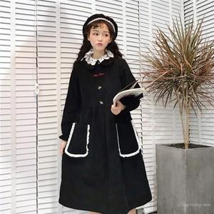 【ワンピース】ファッションレトロパフスリーブラウンドカラー無地コーデュロイAラインワンピース