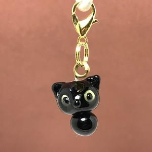 動物とんぼ玉チャーム *黒猫*