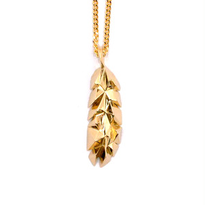 GHOST POLYGON FEATHER Necklace GOLD