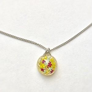 ミニチュア花畑シリーズ 純ロジウムネックレス Miniature flower field series Pure rhodium necklace
