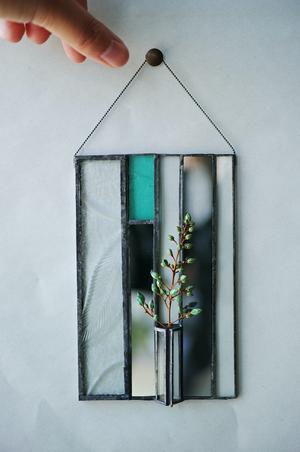 ◆抽選◆ green / 山野草【patchwork mirror 花器融合型】