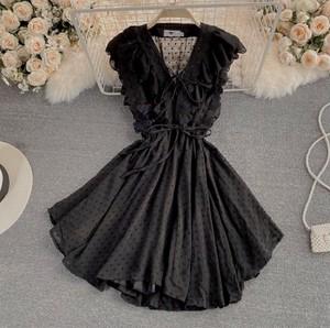 volume frill dot dress 2color