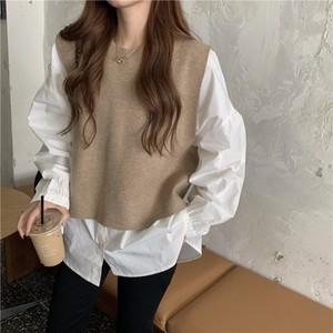 韓国ファッション ゆったり ラウンドネック 長袖 無地 シャツ・ブラウス + ベスト 2点セットセットアップ