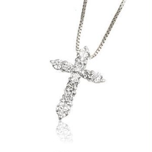 WG/G K18 0.20ctダイヤモンドクロスネックレス