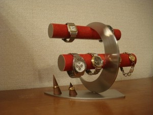 腕時計スタンド レッド丸パイプ三日月8本掛け腕時計スタンド リングスタンド ak-design No.13306