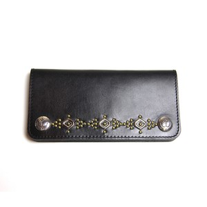 STEADY HIGH/ステディハイ Leather wallet with studs-silver&gold
