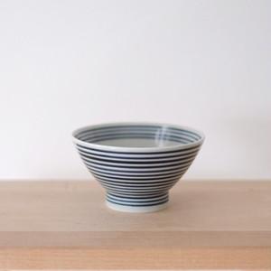 藍染ボーダー茶碗 小