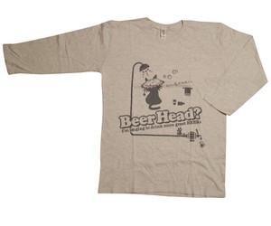 びーるのみT。7th『Beer Head ?』〔七部袖〕(グレー+濃グレー)