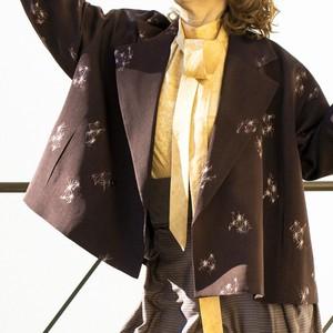 黒檀色に麻の葉崩し柄染め抜き羽二重+煤色に文字墨絵柄 ワイドジャケット