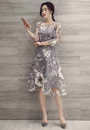 <即納> オーガンジー フレア 花柄ワンピース