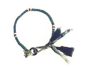 """North Works """"Indigo Dyed Shell & White hearts Beads Bracelet"""""""