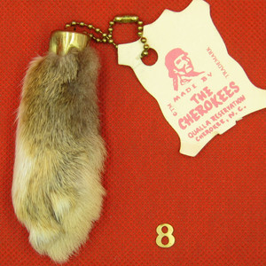 Vintage Rabbit's Foot key chain, natural #8 NOS
