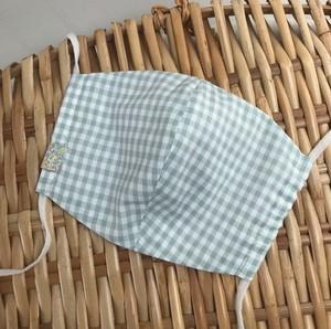 夏の薄手マスク 選べるサイズ ギンガムローン ペールミント ワンポイントリバティ