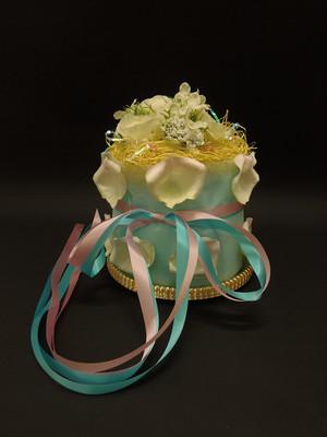 送料無料☆おむつケーキ1段(小)「ブルー☆イエローフラワー☆ペタル花びら」直径15センチ