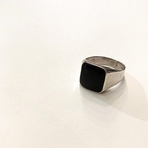 FRANCE vintage silver ring -ONYX- (C)