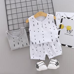 【子供服】綿麻生地しなやかノースリーブTシャツ/五分丈パンツ2点セット20520584