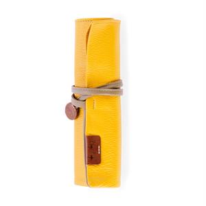 【袋果ロールペンケース / イエロー × スモーク】文房具・工具をスマートに収納♪