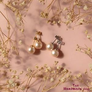 小さめピアス8mm ★ ピンクのコットンパール ❤ シンプル