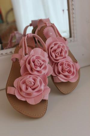 ♥shoes♥お花薔薇コサージュサンダル ピンク