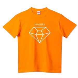 Number8(ナンバーエイト) BIGホワイトダイヤモンドTシャツ(オレンジ)キッズ レディース メンズ